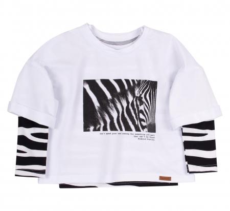 Set bluza maneca lunga+hanorac, Alb/Zebra, Safary [0]