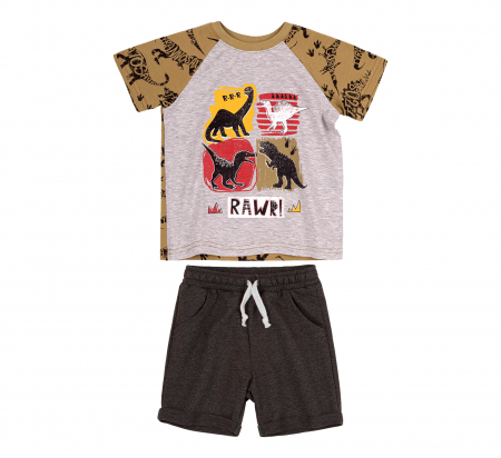 Compleu, tricou cu maneca scurta si pantalon scurt buzunare, baieti, Kaki/Gri [1]