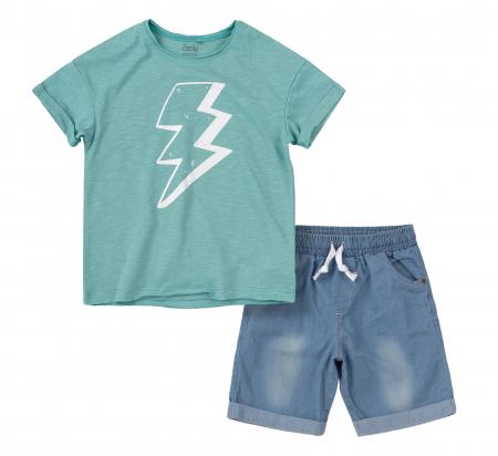 Compleu; tricou cu maneca scurta si pantalon scurt cu buzunare, baieti, Verde/Albastru [0]