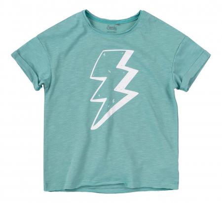 Compleu; tricou cu maneca scurta si pantalon scurt cu buzunare, baieti, Verde/Albastru [2]