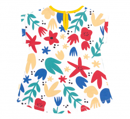 Compleu, tricou cu maneca scurta si pantalon leggings 3/4, bumbac 100%, fete, Alb/Flori, Galben [3]