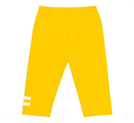 Compleu, tricou cu maneca scurta si pantalon leggings 3/4, bumbac 100%, fete, Alb/Flori, Galben [2]