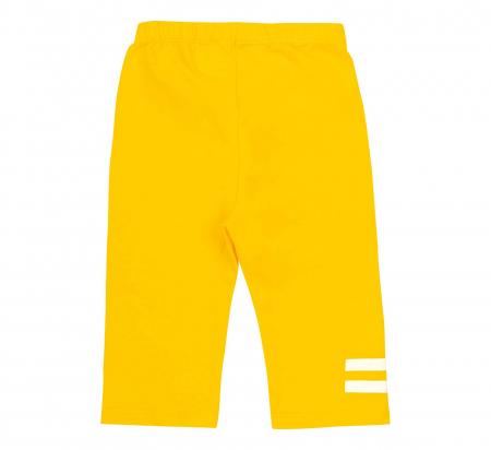Compleu, tricou cu maneca scurta si pantalon leggings 3/4, bumbac 100%, fete, Alb/Flori, Galben [4]