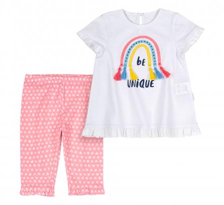 Compleu, tricou cu maneca scurta si pantalon leggings 3/4, bumbac 100%, fete, Alb/Roz cu inimioare [1]