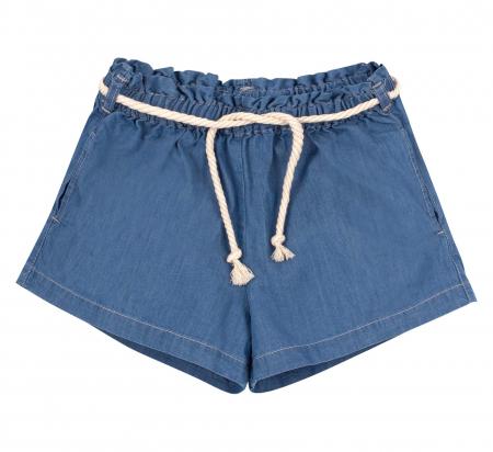 Compleu, tricou cu maneca scurta si pantalon scurt jeans cu buzunare, bumbac 100%, fete, Alb/Dungi colorate [2]