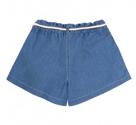Compleu, tricou cu maneca scurta si pantalon scurt jeans cu buzunare, bumbac 100%, fete, Alb/Dungi colorate [4]