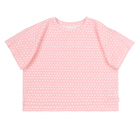 Compleu; tricou cu maneca scurta si pantalon scurt cu buzunare, jeans, fete, Roz/Inimioare [1]