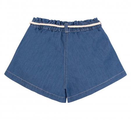 Compleu; tricou cu maneca scurta si pantalon scurt cu buzunare, jeans, fete, Roz/Inimioare [4]