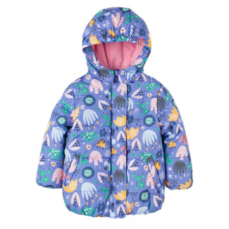 Jacheta fas iarna cu gluga, fermoar si capse, fete, Mov/Flori [0]