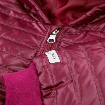 Jacheta matlasata cu fermoar si gluga, fete, Bordo, Simply Comfy2