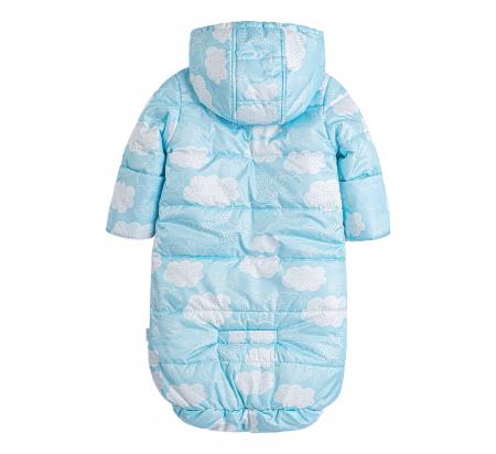 Husa tip salopeta din fas, iarna, bebe, baieti, Albastru/Alb [2]