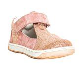 Pantofi piele, decupati, cu talonet, Roz, velour, Pablo [0]