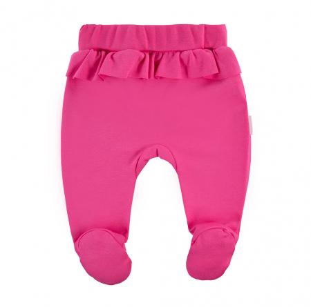 Pantalon tip pijama cu talpa, bumbac 100%, fete, Roz, Coral1