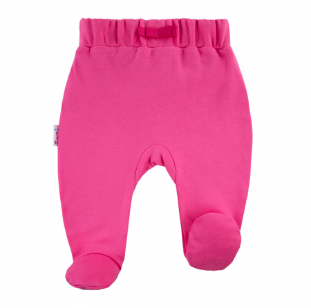 Pantalon tip pijama cu talpa, bumbac 100%, fete, Roz, Coral0