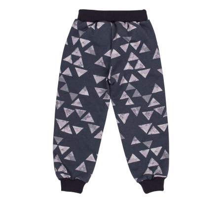 Pantalon trening cu buzunare, baieti, Gri triunghiuri1