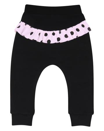 Pantalon trening_Negru cu volanase roz0
