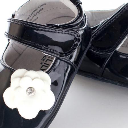 Pantofi eleganti, piele lacuita, fete, Negru/Floare alba, Skyler1