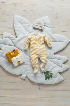 Pijama tip salopeta intreaga cu talpa _ Bej cu dungi galben/maro_Nice day1
