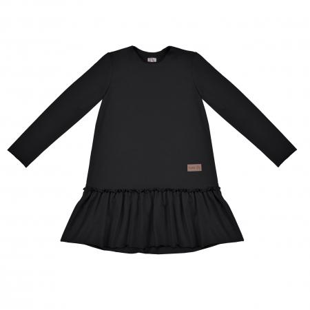 Rochie cu maneca lunga si volane, Negru [0]