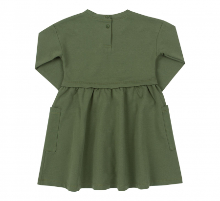 Rochie cu maneca lunga si buzunare, bumbac 100%, Verde, Safary [1]