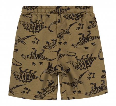 Pantalon scurt 3/4 cu buzunare, baieti, Kaki/Dinozauri [1]