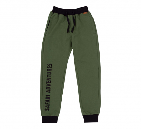 Pantalon trening cu buzunare, bumbac 100%, Verde, Safary [0]