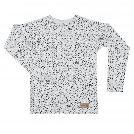 Bluza cu maneca lunga, unisex, Alb/Picatele negre0