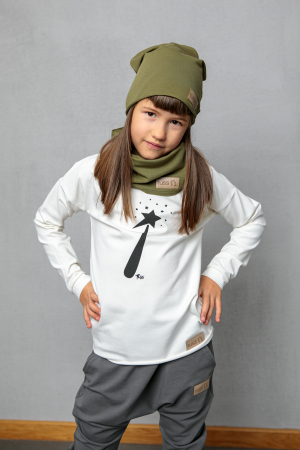 Bluza cu maneca lunga, unisex, Alb cu stea2