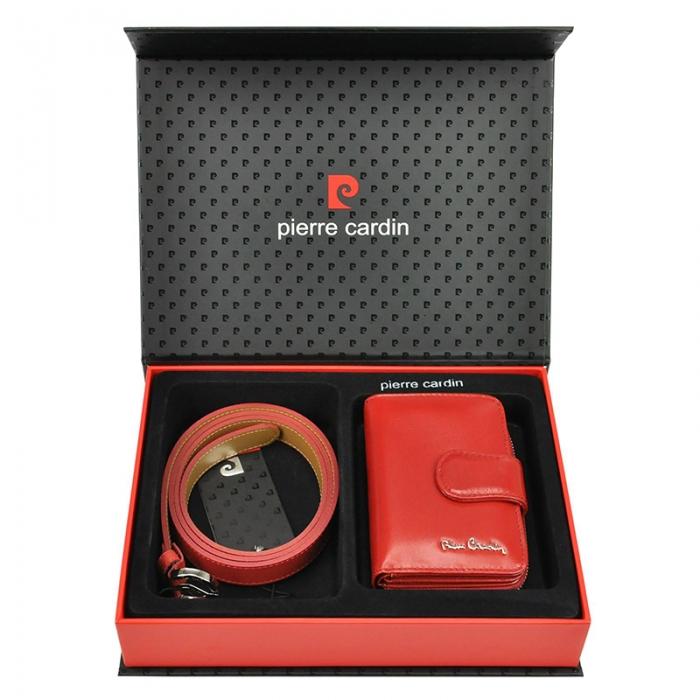 Set cadou dama portofel si curea dama din piele naturala Pierre Cardin, PDS601 0