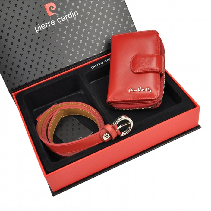 Set cadou dama portofel si curea dama din piele naturala Pierre Cardin, PDS601 1