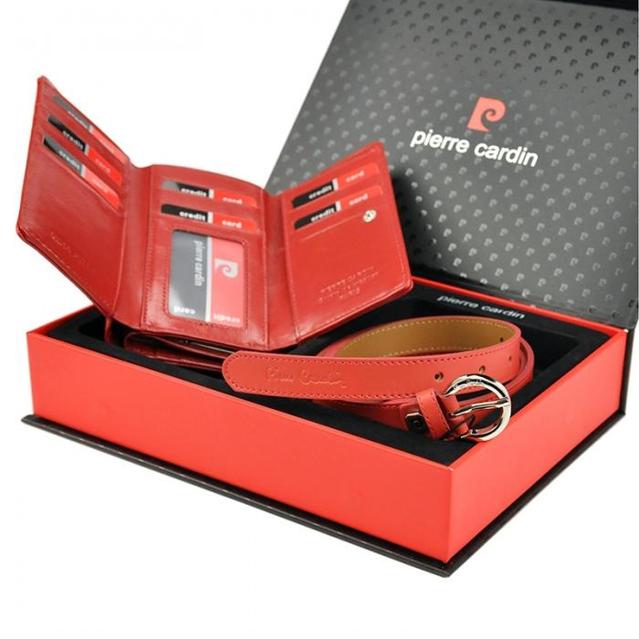 Set cadou dama portofel si curea dama din piele naturala Pierre Cardin, PDS600 2