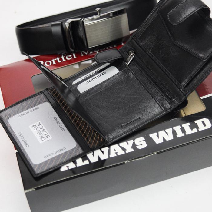 Set cadou barbati portofel si curea barbati din piele naturala Rovicky Z-02 [4]