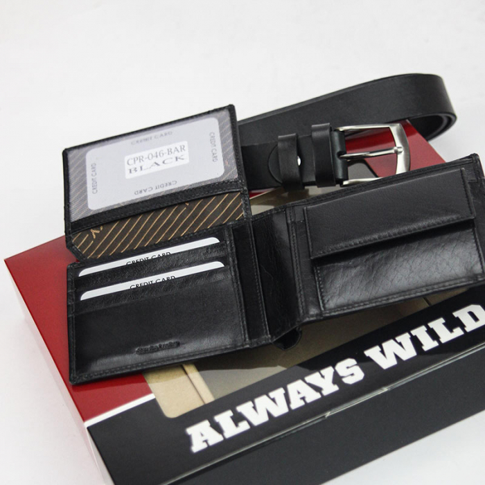 Set cadou barbati portofel si curea barbati din piele naturala Rovicky Z-01 [2]