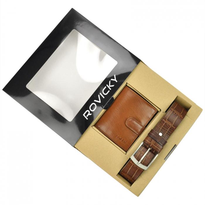 Set cadou barbati portofel si curea barbati din piele naturala Rovicky ZR-04-115 [1]