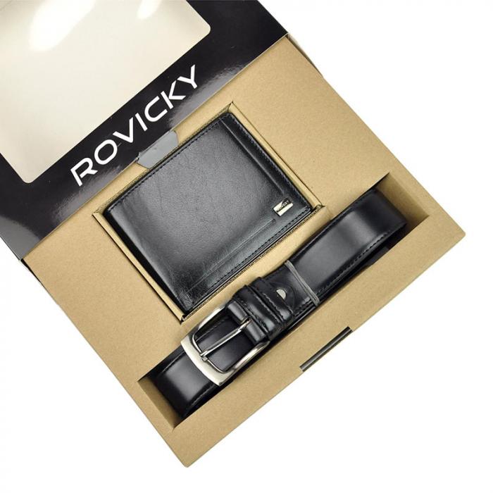 Set cadou barbati portofel si curea barbati din piele naturala Rovicky ZR-02 1