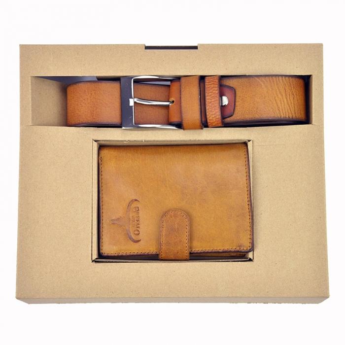 Set cadou barbati portofel si curea barbati din piele naturala PBS500 0