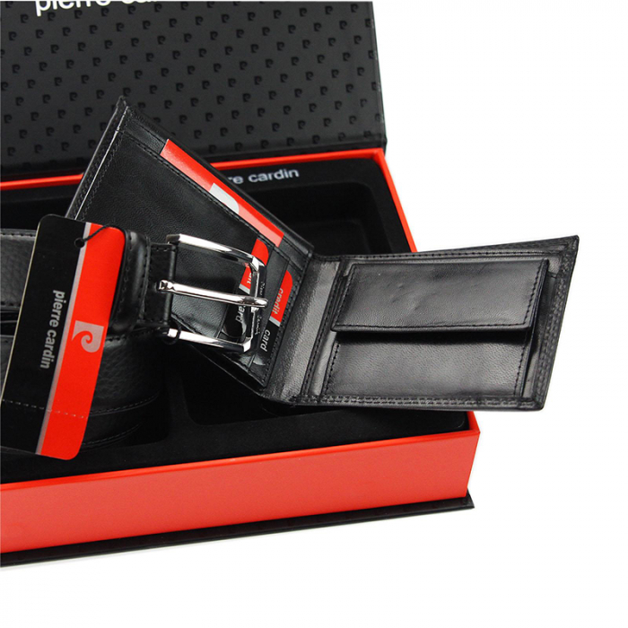 Set cadou barbati portofel si curea barbati din piele naturala Pierre Cardin, PBS703 4