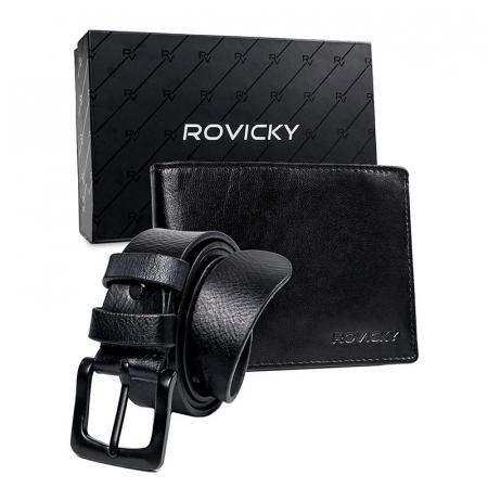 Set cadou barbati portofel si curea barbati din piele naturala Rovicky R-N992-110-T [0]