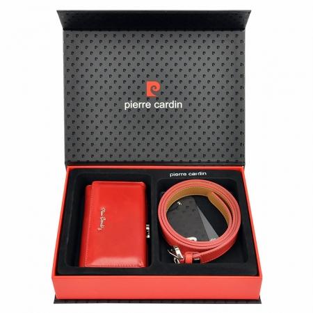Set cadou dama portofel si curea dama din piele naturala Pierre Cardin, PDS6000