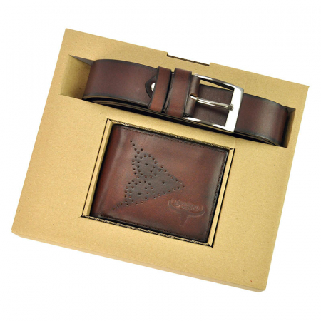 Set cadou barbati portofel si curea barbati din piele naturala PSB-N7-02-GG [4]