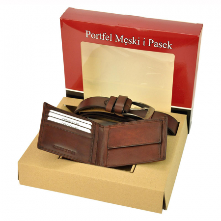 Set cadou barbati portofel si curea barbati din piele naturala PSB-N7-02-GG [5]