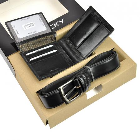 Set cadou barbati portofel si curea barbati din piele naturala Rovicky ZR-024