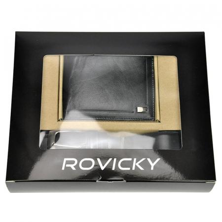Set cadou barbati portofel si curea barbati din piele naturala Rovicky ZR-025