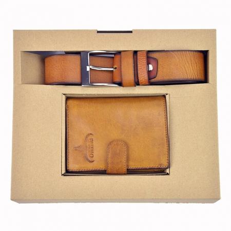 Set cadou barbati portofel si curea barbati din piele naturala PBS5000