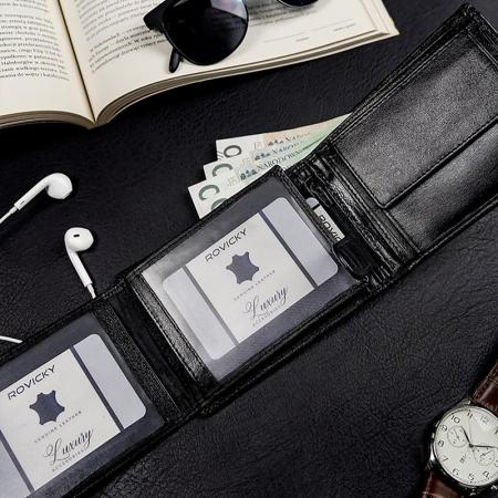 Set cadou barbati portofel si curea barbati din piele naturala Rovicky R-N992-110-G [4]
