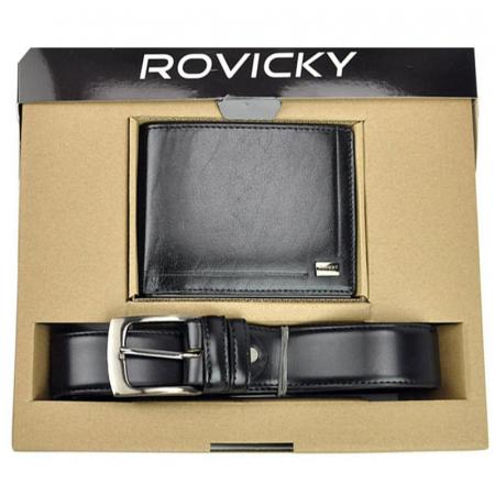 Set cadou barbati portofel si curea barbati din piele naturala Rovicky ZR-020