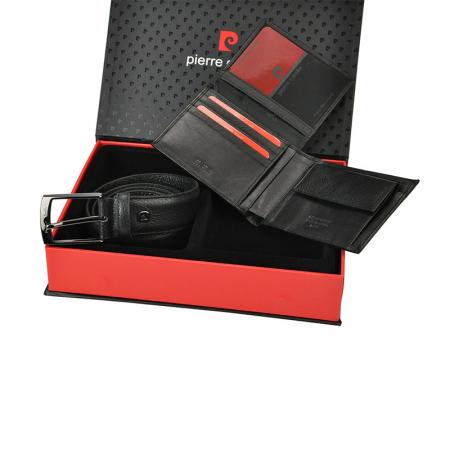 Set cadou barbati portofel si curea barbati din piele naturala Pierre Cardin ZG-413