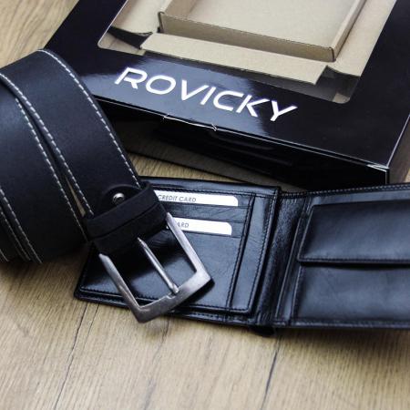 Set cadou barbati portofel si curea barbati din piele naturala Rovicky ZR-01 [5]