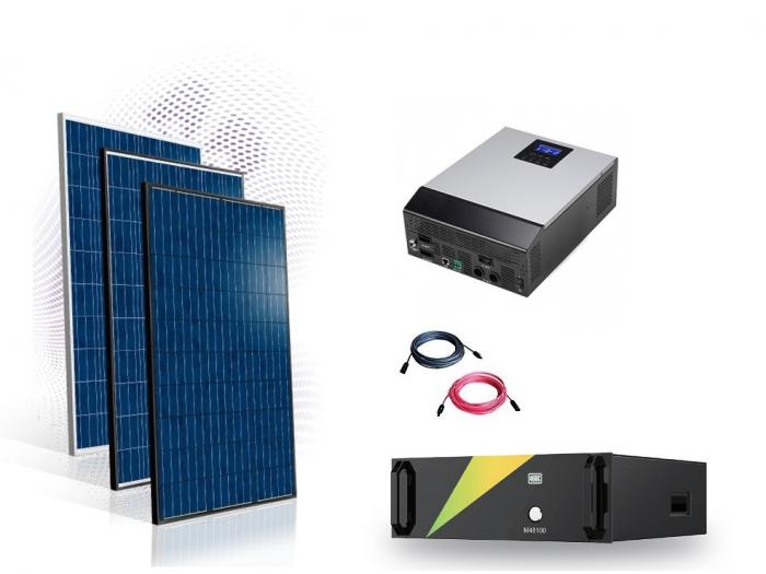 Photovoltaic System Hybrid 9kw with LifePo 100Ah battery-big