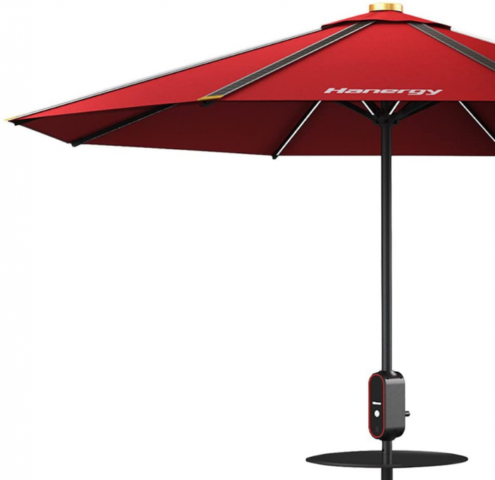 Photovoltaic umbrella, Hanergy, 4 USB ports, 38400mAh storage, diameter 2.8m-big